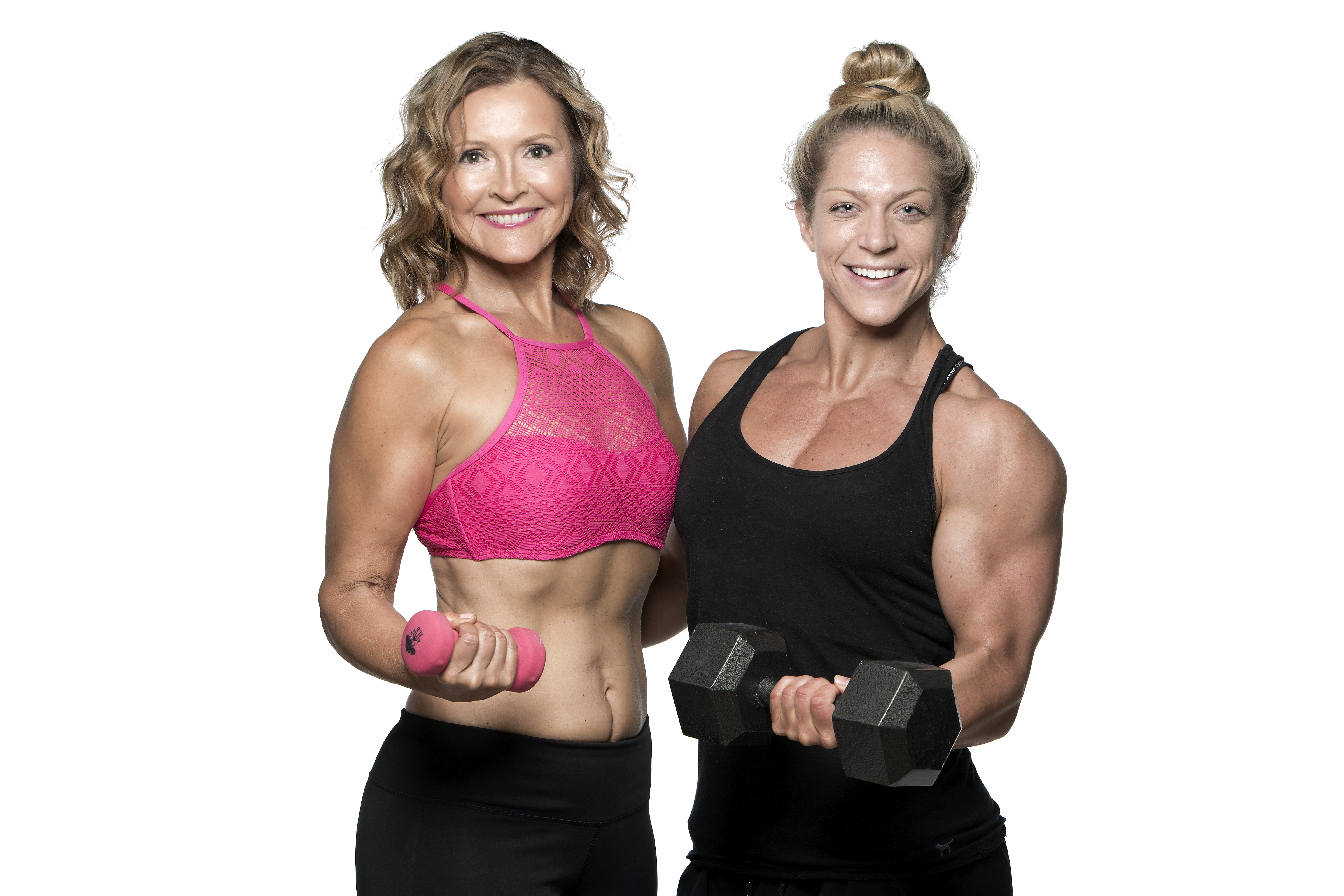 Dr. Mimi with her daughter Coach Kat, both holding hand weights
