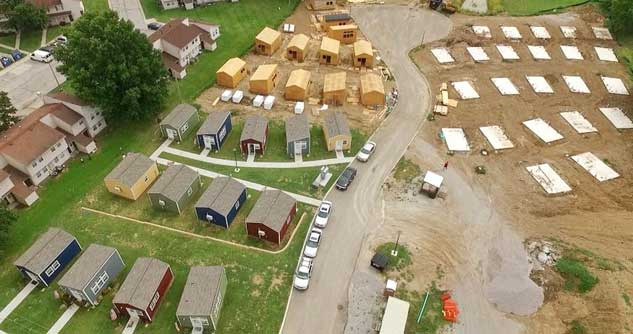 Arial photo of Tiny Home community in Kansas City