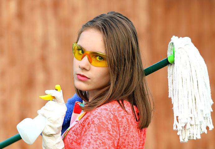 Girl Holding Mop